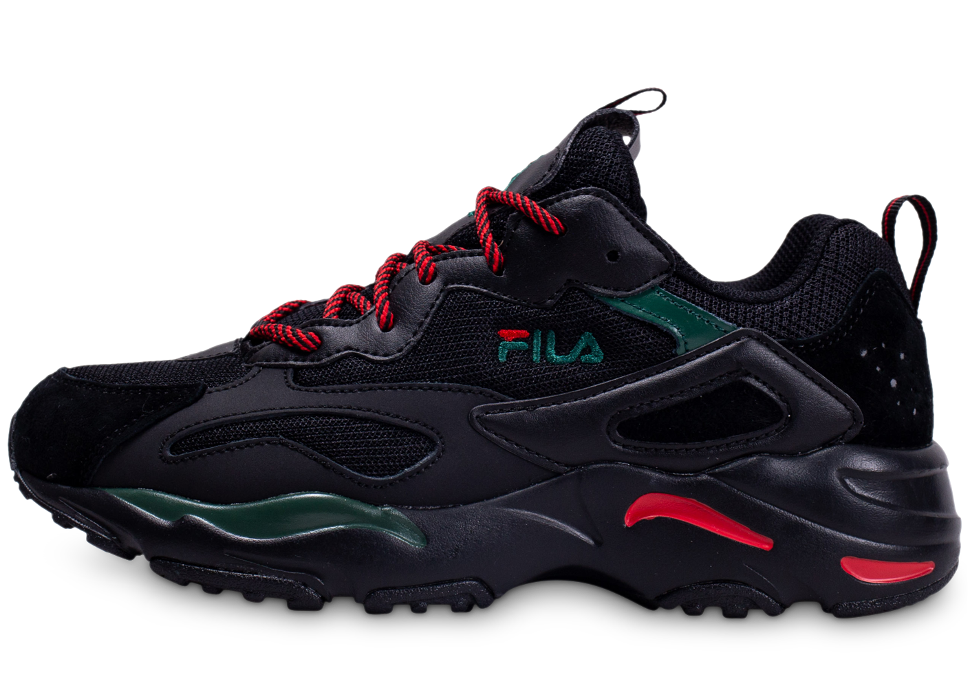Fila homme ray tracer noire rouge vert baskets