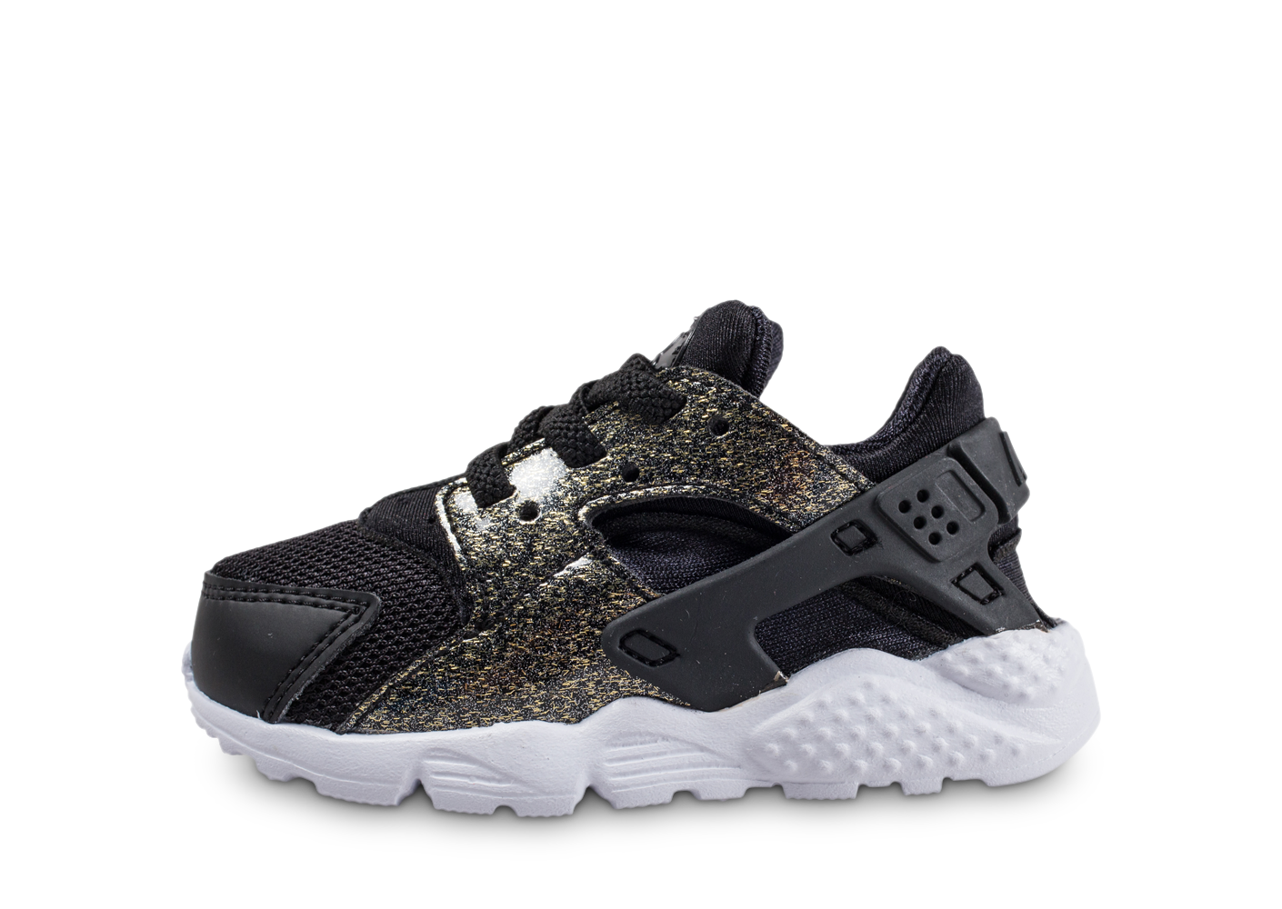 Nike Air Huarache Run Bébé Noire Et Or Baskets