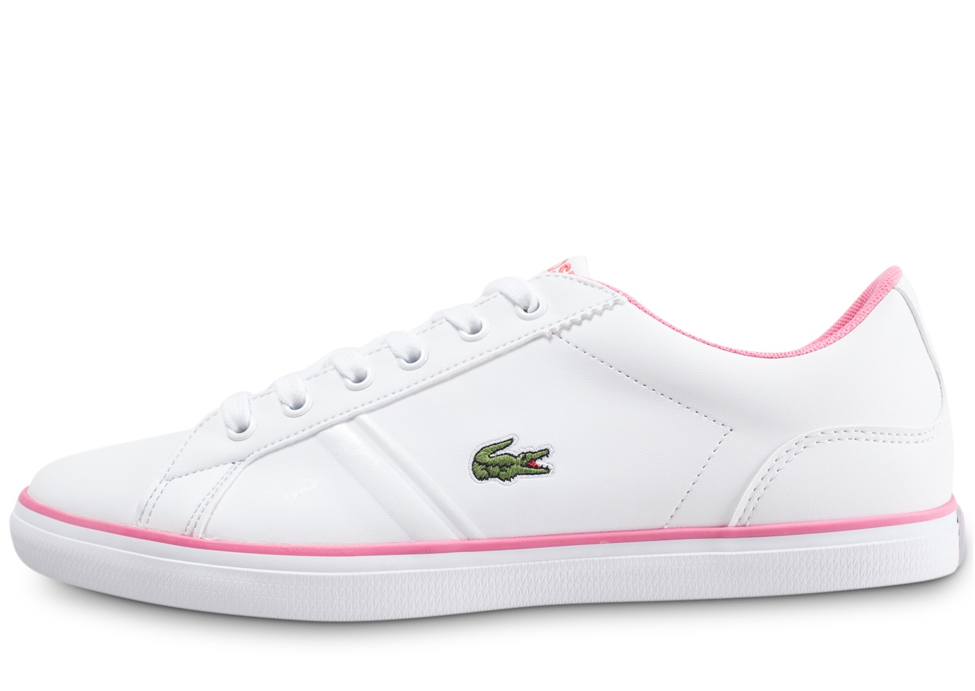 Lacoste Enfant Lerond Junior Blanche Et Rose Baskets