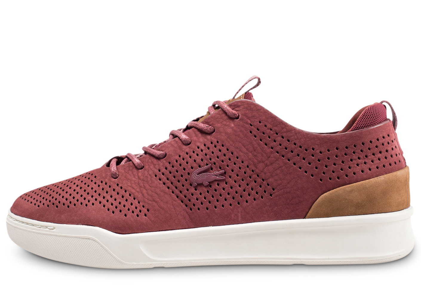 Lacoste Homme Explorateur Rouge Et Marron Baskets