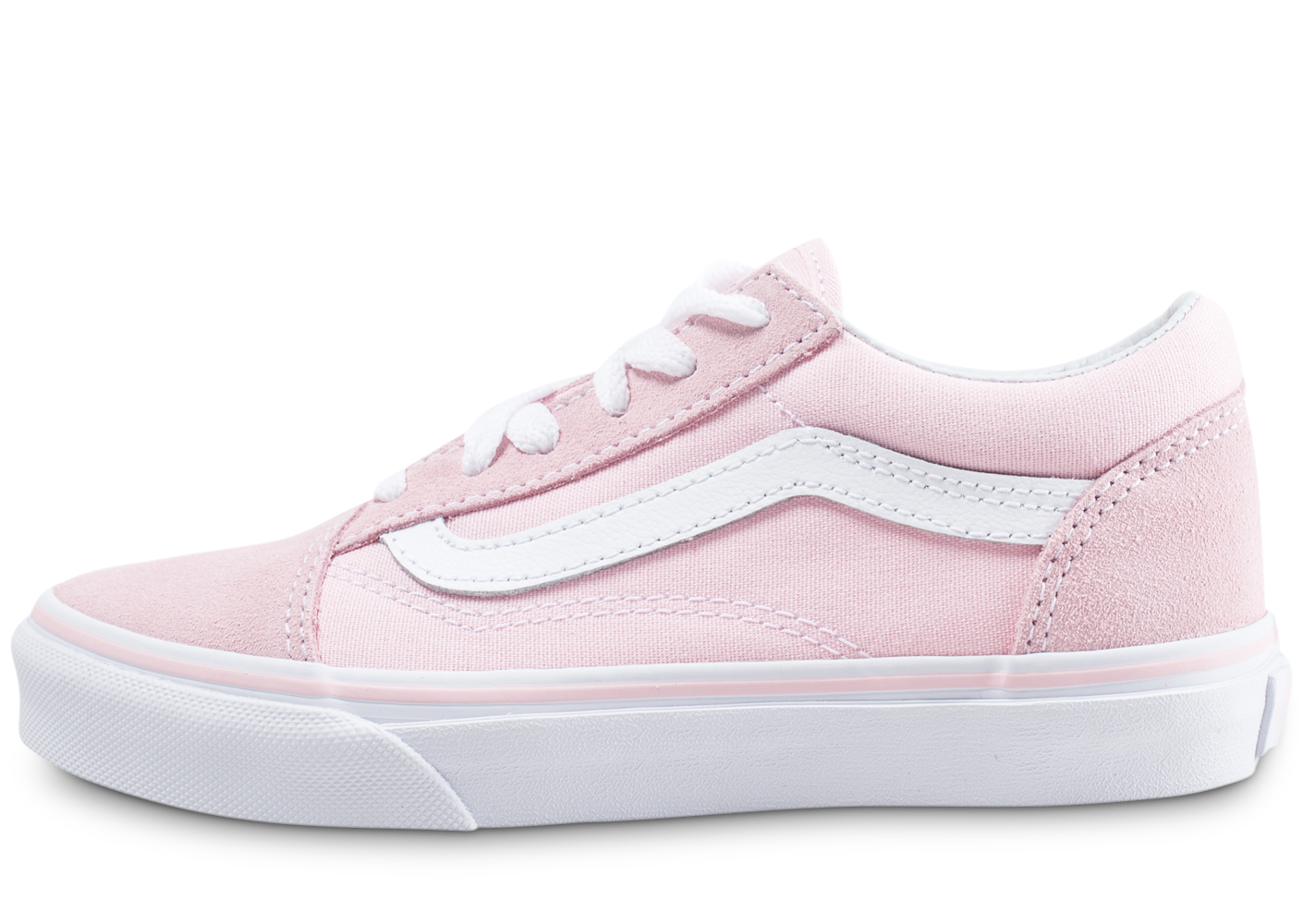 Vans Old Skool Enfant Rose Et Blanche Baskets