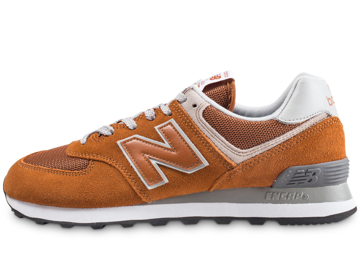 New Balance Homme Ml574epe Orange Et Gris Baskets
