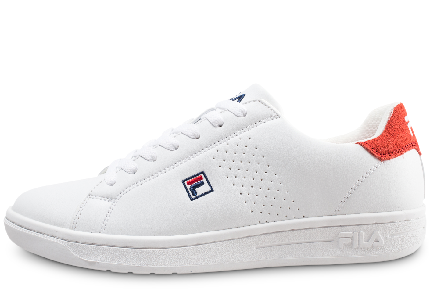 Fila Homme Crosscourt 2 Low Blanche Et Rouge Baskets