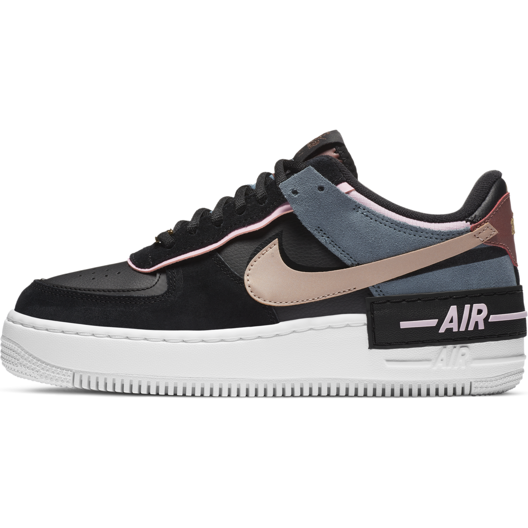 Nike Femme Air Force 1 Shadow Black Metallic Red Bronze Baskets