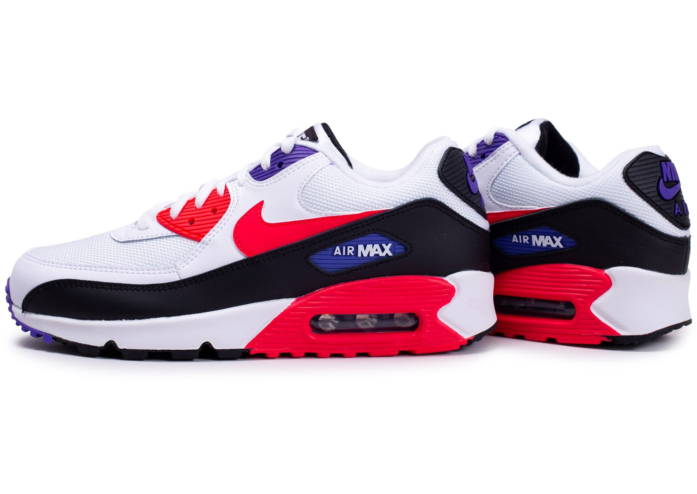 Nike Air Max 90 Essential blanc rouge violet - Chaussures Baskets ...