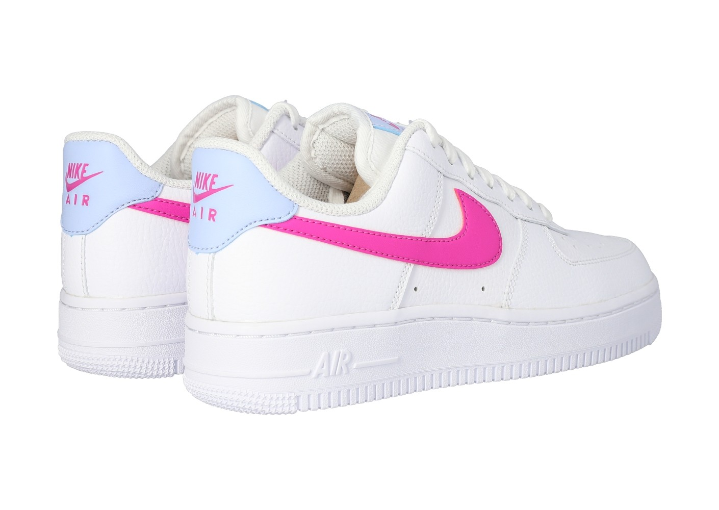 Nike Air Force 1 '07 blanche rose et bleue - Chaussures Baskets ...