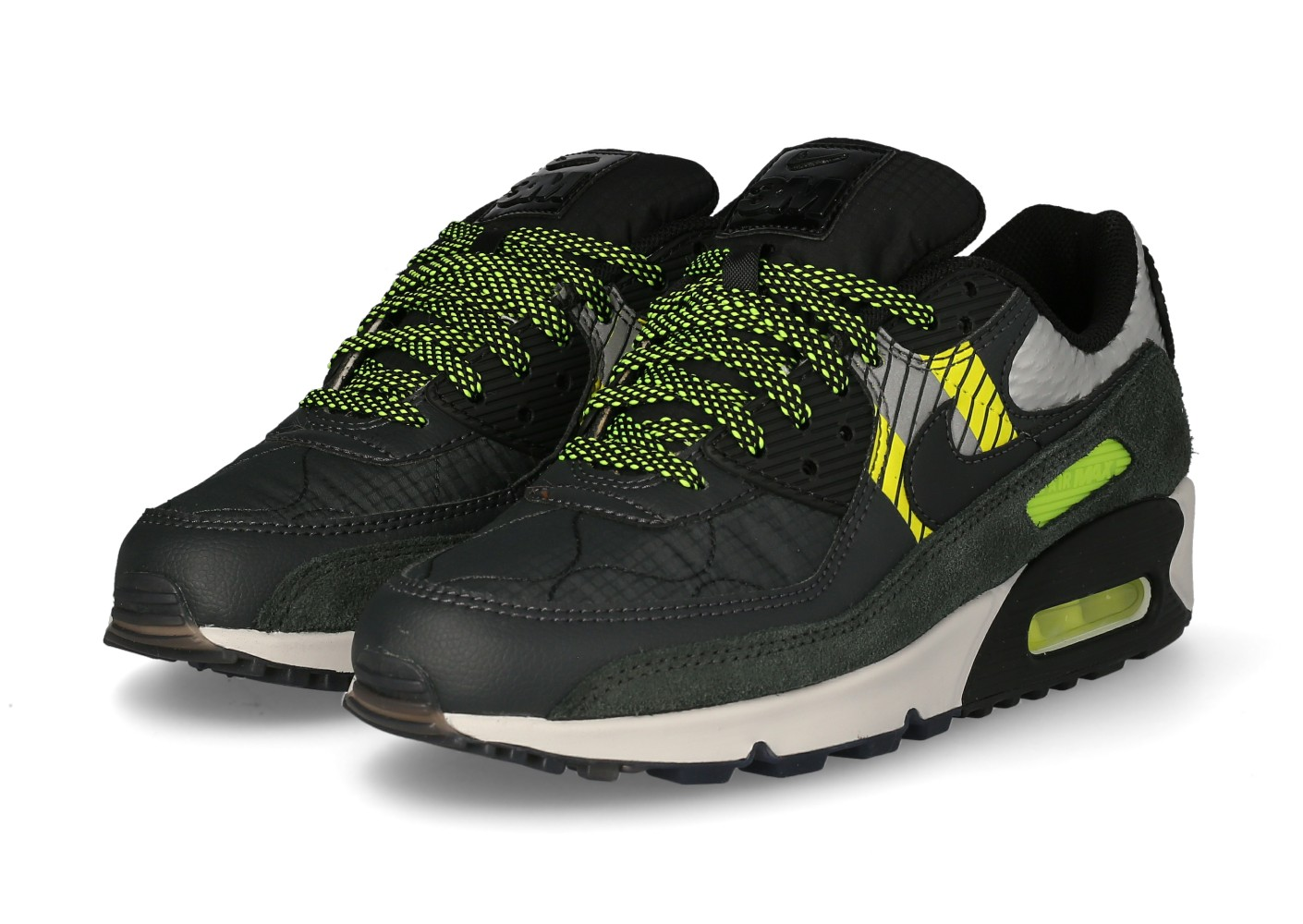 Nike Air Max 90 3M anthracite Volt - Chaussures Baskets homme ...