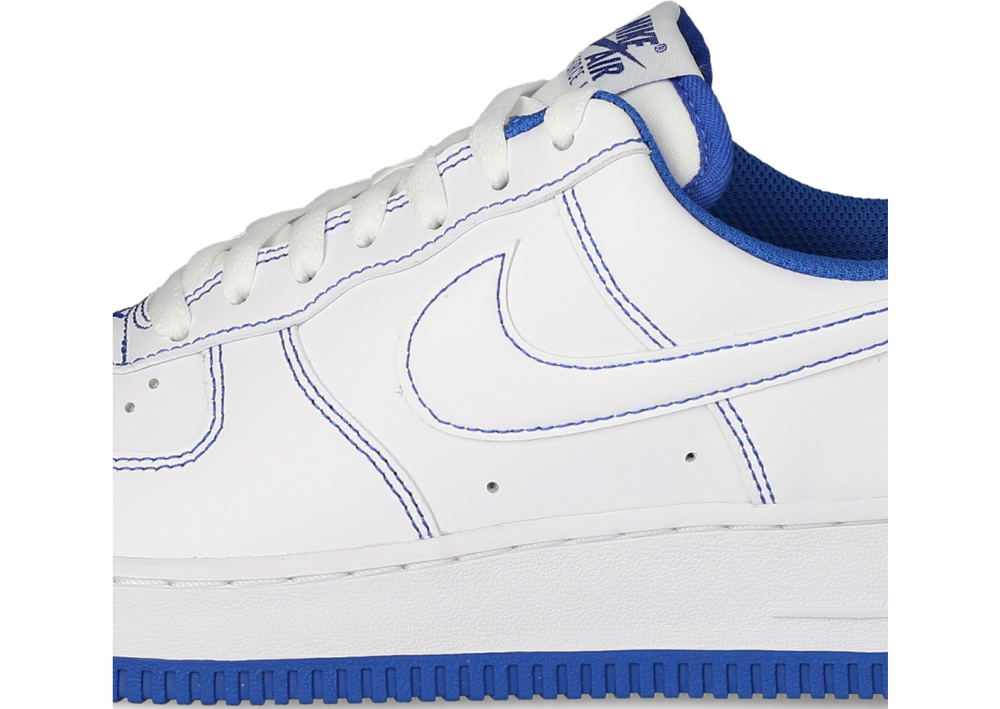 Nike Air Force 1 Homme Stitch blanche et bleu royal - Chaussures ...