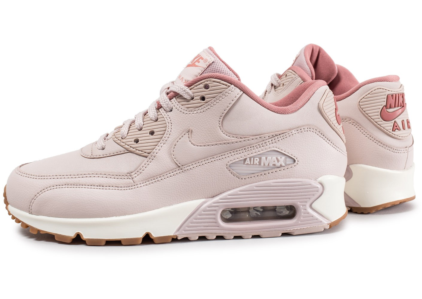 Nike Air Max 90 W Leather rose - Chaussures Baskets femme - Chausport