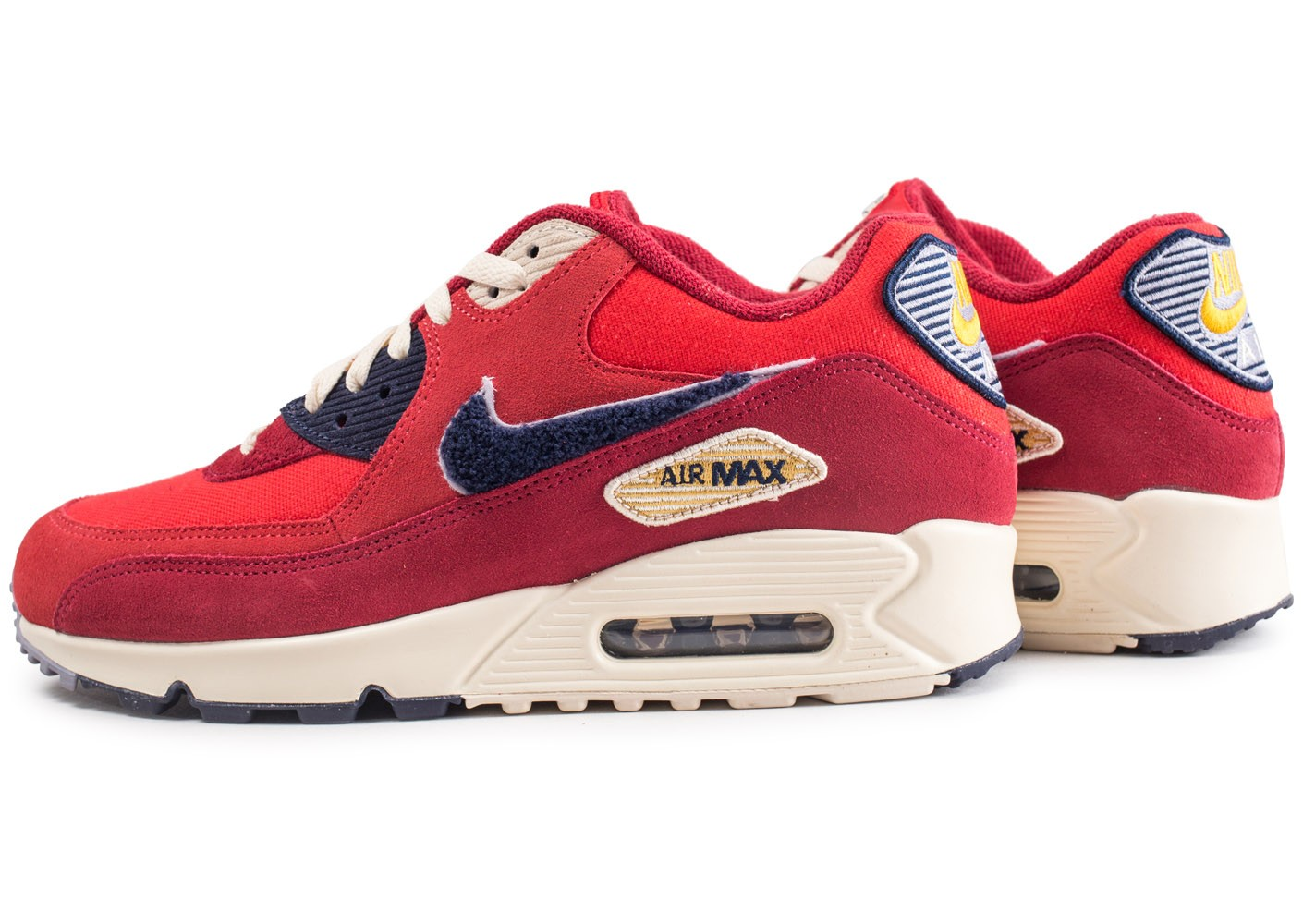 Nike Air Max 90 Premium SE rouge - Chaussures Baskets homme ...