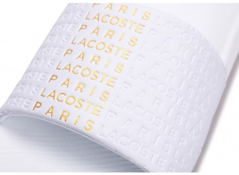 Chaussures Lacoste Sandales Croco blanches et or vue dessus