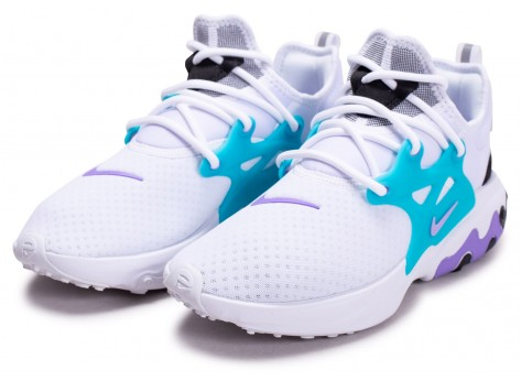 Chaussures Nike React Presto blanc turquoise violet vue intérieure
