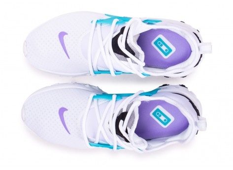 Chaussures Nike React Presto blanc turquoise violet vue arrière