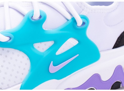 Chaussures Nike React Presto blanc turquoise violet vue dessus