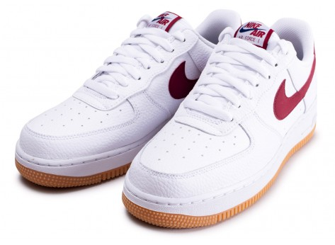 Chaussures Nike Air Force 1 '07 blanche et rouge vue intérieure
