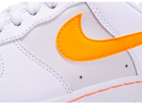 Chaussures Nike Air Force One Blanche et Orange vue dessus