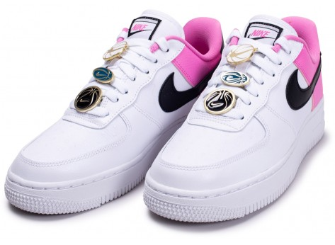 Chaussures Nike Air Force 1'07 blanc rose femme vue intérieure