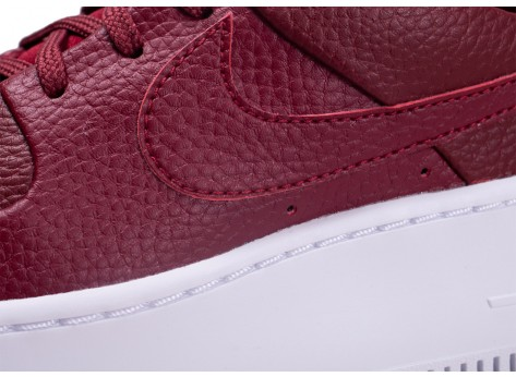 Chaussures Nike Air Force One Sage Low Rouge vue dessus
