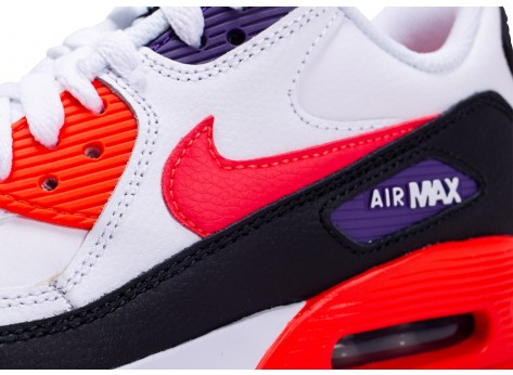 Chaussures Nike Air Max 90 Leather blanc rouge noir junior vue dessus