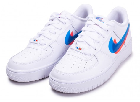 Chaussures Nike Air Force 1 LV8 Low 3D blanche junior vue dessus