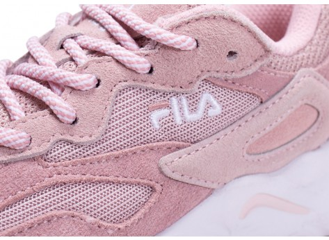 Chaussures Fila Ray Tracer rose et blanche enfant vue dessus