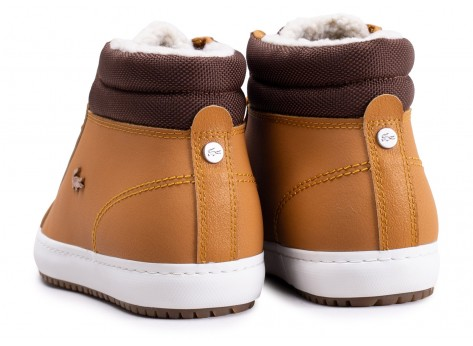 Chaussures Lacoste Straightset Thermo beige et marron vue dessus