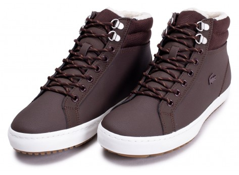 Chaussures Lacoste Straightset Thermo marron et blanche vue avant