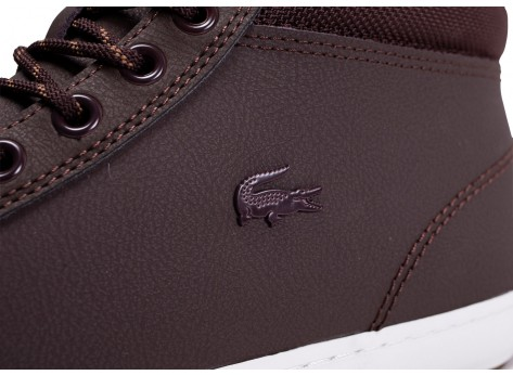 Chaussures Lacoste Straightset Thermo marron et blanche vue dessus