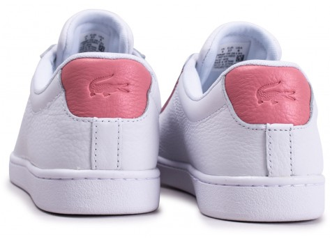 Chaussures Lacoste Carnaby Evo blanche et rose femme vue dessous