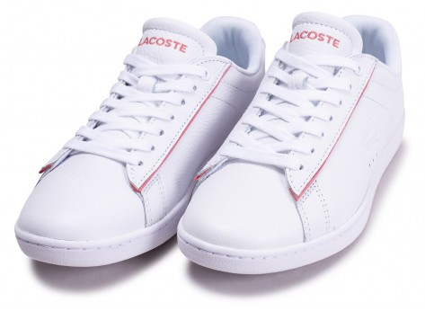 Chaussures Lacoste Carnaby Evo blanche et rose femme vue intérieure