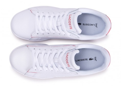 Chaussures Lacoste Carnaby Evo blanche et rose femme vue arrière