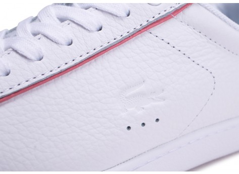 Chaussures Lacoste Carnaby Evo blanche et rose femme vue dessus