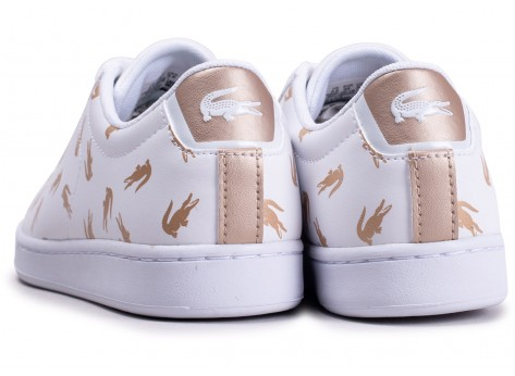 Chaussures Lacoste Carnaby Evo blanche et or junior vue dessous