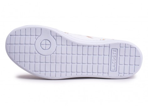 Chaussures Lacoste Carnaby Evo blanche et or junior vue avant