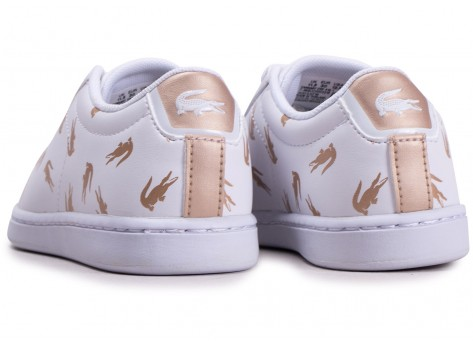 Chaussures Lacoste Carnaby Evo blanche et or enfant vue dessous