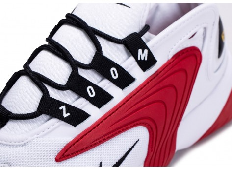 Chaussures Nike Zoom 2K blanche et rouge vue dessus
