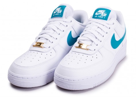 Chaussures Nike Air Force 1'07 blanche bleue or femme vue intérieure