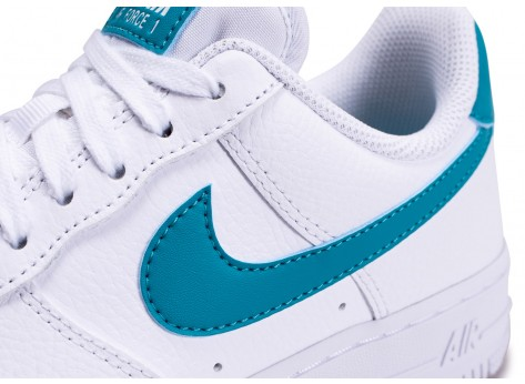 Chaussures Nike Air Force 1'07 blanche bleue or femme vue dessus