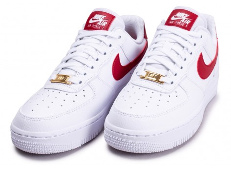 Chaussures Nike Air Force 1'07 blanche rouge et or femme vue intérieure
