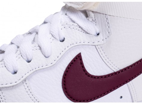 Chaussures Nike Air Force 1 High blanche et marron femme vue dessus