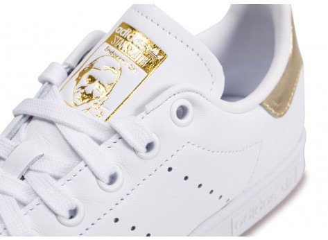 Chaussures adidas Stan Smith blanc or femme vue dessus