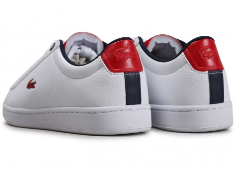 Chaussures Lacoste Carnaby Evo blanc rouge noire Junior vue dessous