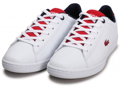 Chaussures Lacoste Carnaby Evo blanc rouge noire Junior vue intérieure