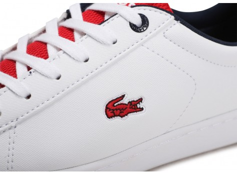 Chaussures Lacoste Carnaby Evo blanc rouge noire Junior vue dessus