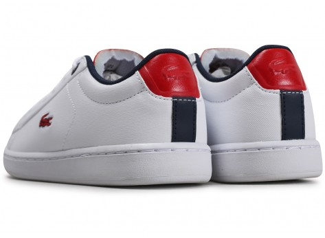 Chaussures Lacoste Carnaby Evo blanc rouge Enfant vue dessous