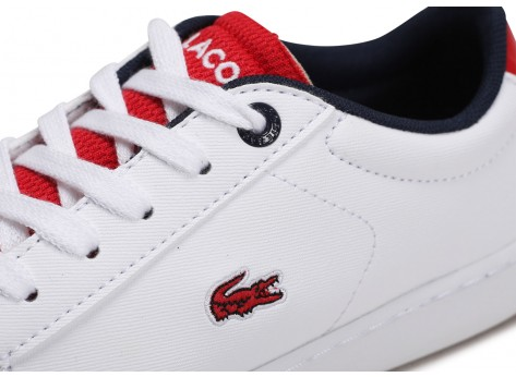 Chaussures Lacoste Carnaby Evo blanc rouge Enfant vue dessus