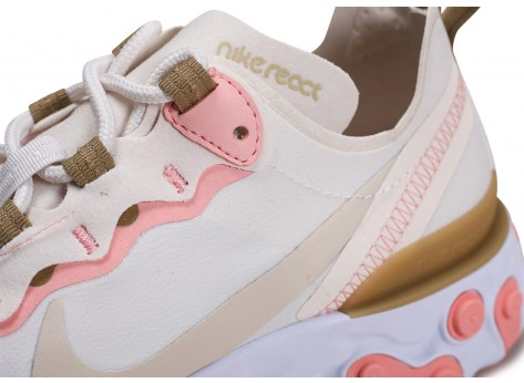 Chaussures Nike React Element 55 beige rose Femme vue dessus