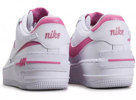 Chaussures Nike Air Force 1 Shadow blanc rose Femme vue dessous