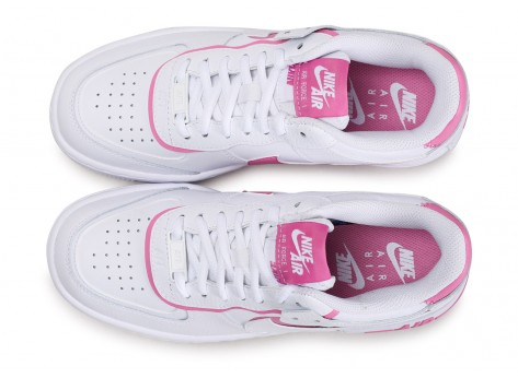 Chaussures Nike Air Force 1 Shadow blanc rose Femme vue arrière