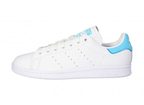 Chaussures adidas Stan Smith blanche et turquoise vue intérieure